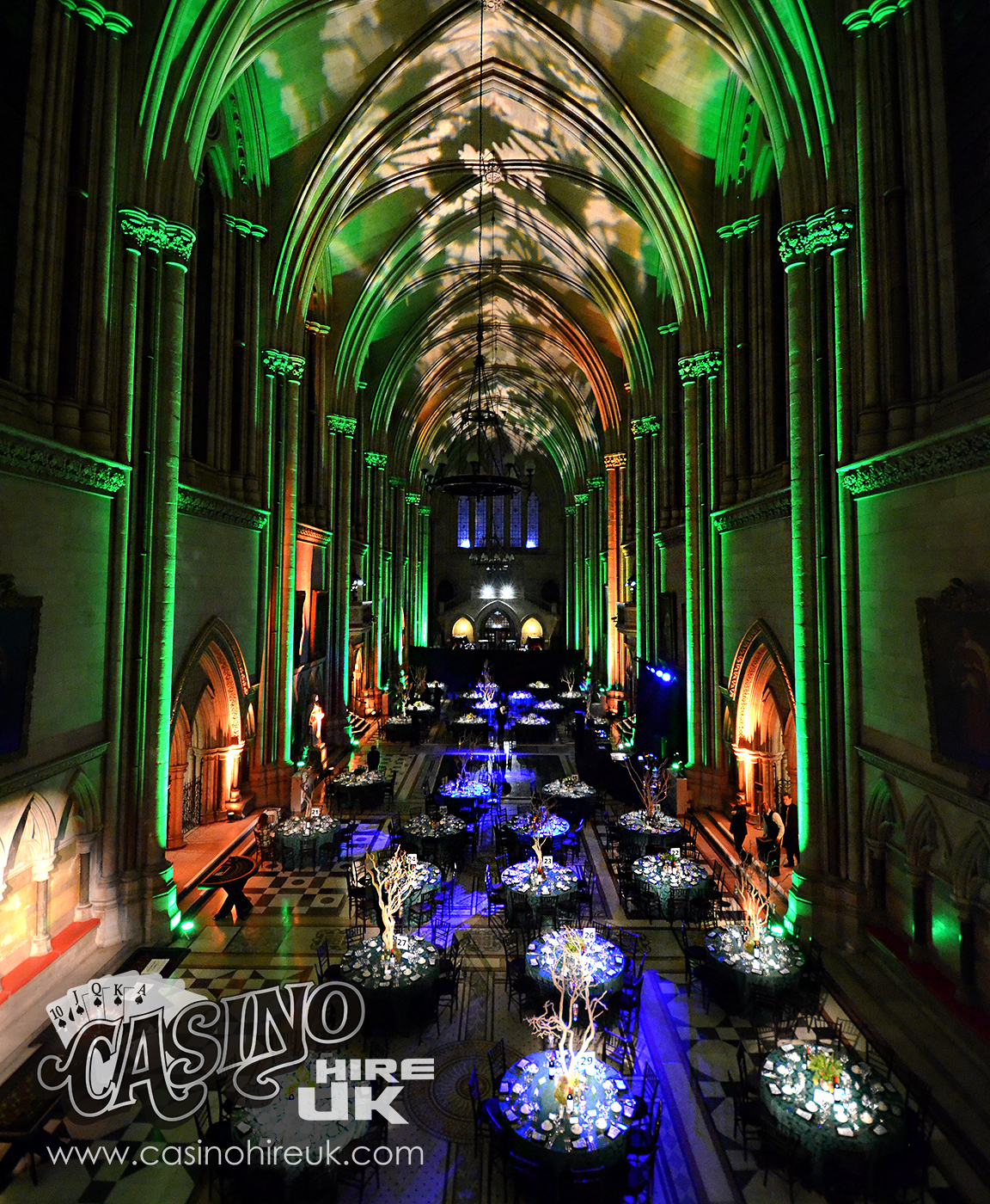 event lighting package at the royal courts of justice in london