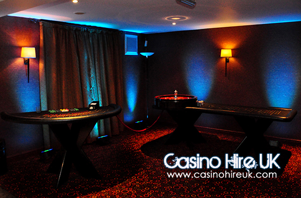 Blue uplights in our fun casino