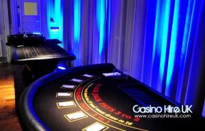 Blackjack table in leeds with blue lighting