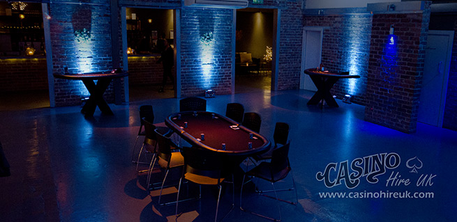 mobile fun casino party hire in leeds with event lighting